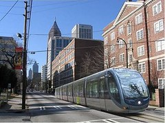 conceptual image of the Atlanta Streetcar on Peachtree St (by: Peter Pesti via City-Data.com)