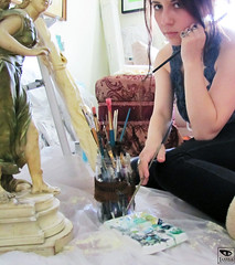 Jamila at work (Jamila BC) Tags: painting artist goddess diana brushes artemis mythology greekmythology jamila paintbrushes artistpalette artiststudio greekgoddess processpicture jamilaproductions