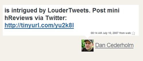 Dan Cederholm likes LouderTweets