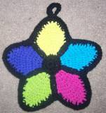 stained glass flower potholder