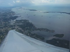 Honeymoon Island & Caladesi Islands - the ribbons of sand in the water near top of picture (kthypryn) Tags: sky beach gulfofmexico water airplane islands flying florida dunedin honeymoonisland crystalbeach caladesiisland