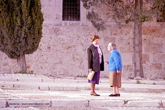 meeting of freinds (lawmoment) Tags: street blue friends woman film nikon women chat oldwoman f80 oldfriends