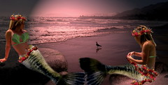 Mermaids (honey 77) Tags: ocean fiction sea portrait fish girl beautiful photomanipulation photoshop landscapes digitalart folklore sealife garland fantasy dreams mermaids legends seashore mythology photoart fairytales myths fishtales seapeople mermaidart seamaidens storytales