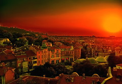 Red Hot Charming Plovdiv (Bulgaria`s most interesting photo on flickr!!!) (Emilofero) Tags: city trip travel roof light sunset red summer sky urban orange sun color colour luz church architecture tile rouge soleil town europa europe muslim coucher mosque explore bulgaria cielo dome balkans turkish protestant ville