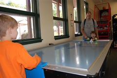 Air hockey in the Funmeister Clubhouse