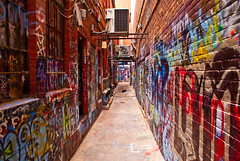 Down The Alley (ChongoIsDanegerous) Tags: color brick art wall photography graffiti artwork alley paint bright tag snapshot picture vivid spray photograph vandal dane saturate hillard sonyalphadslra200 danehillard