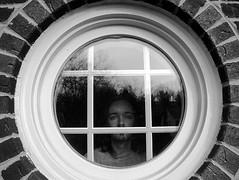 round window self portrait (Ayton) Tags: bw house selfportrait man window eyes pennsylvania spooky round treeline brickwork glazing bethelpark