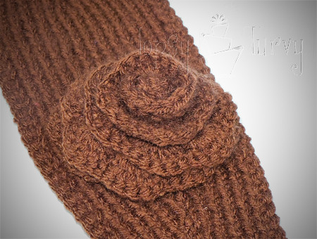 Knitted Ear Warmer Pattern : Knit Ear Warmer Pattern with Flower Crochet Ashlee Marie