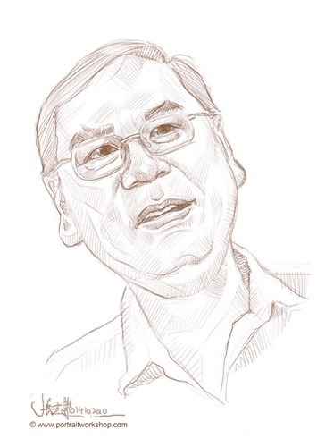digital portrait sketch of Lee Kim Siang - small