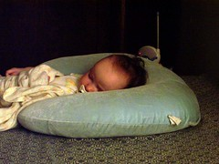 Talia asleep on Boppy pillow (1)