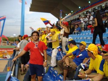 Danilo Sánchez en la tribuna del Estadio Maracaibo