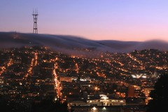 Fog Cascade #2 (A Sutanto) Tags: sf sanfrancisco california ca city longexposure urban usa tower fog america lights evening dusk hill hills twinpeaks mckinley cascade sutrotower marinelayer aplusphoto ysplix