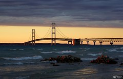 Mackinac Bridge at last light (norjam8) Tags: bridge sunset lake water rocks waves suspension strait mackinac mackinaw supershot flickrsbest mywinners abigfave aplusphoto diamondclassphotographer flickrdiamond norjam8 imgp0258pf mightmac