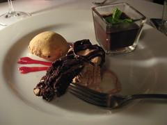 Chocolate Trio (Emily05MLE) Tags: dinner beignet chocolate missoula northamerica goingaway biscotti iatethis redbird september2007 potdecreme someespressofrozenconcoction