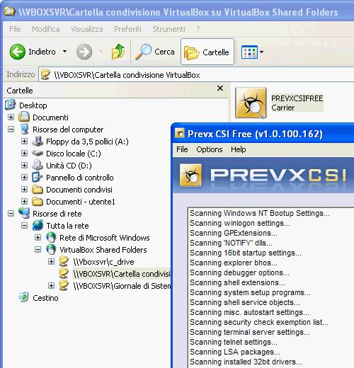 Fig. 11 - VirtualBox cartelle condivise - Esecuzione programma contenuto sull'host