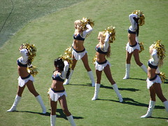 More Entertaining Than The Actual Game (ZenzenOK) Tags: blue game green fall public gold dance team cheerleaders chief nfl september cheer champions afc 2007 chargers sandiegochargers zenzenok afcwest chargergirls