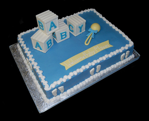 blue and white baby block and rattle baby shower sheet cake