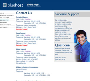 BlueHost Contact Information