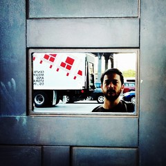 52 Weeks (23): The Future is a Mystery... (Sion+Anton) Tags: door newyorkcity portrait reflection self mirror squareformat movingtruck 500x500 iphone4 iphoneography antonkawasaki gaybeardedmale crossprocessapp darkmysteriousportrait 10thavenuemeatpackingdistrictnyc