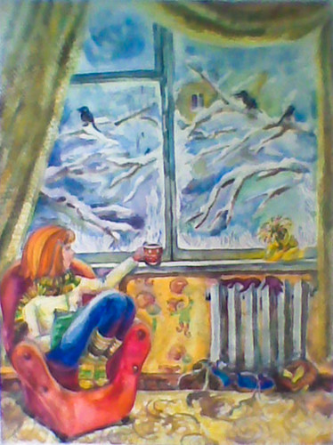 Winter Time, 2001, Watercolor on paper