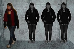 Stand Out (Sara Kelly.) Tags: white black texture girl metal canon mask clones transparency layer selective t2i