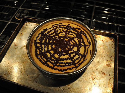 Pumpkin spice cheesecake: spiderweb