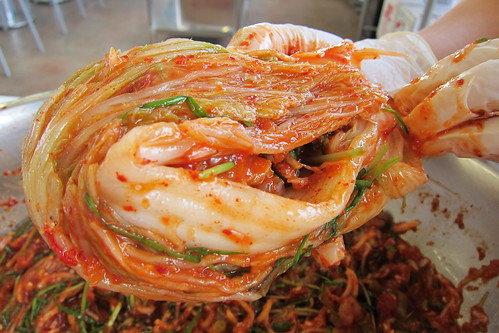 Making Kimchi: folding the cabbage into a ball