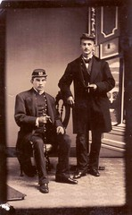 Soldiers with cigars - Tintype (paws22) Tags: man men walkingstick tintype soldiers cigars uniforms