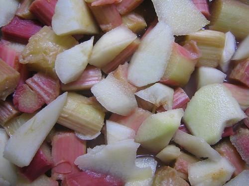 rhubarb crumble (pre crumble)