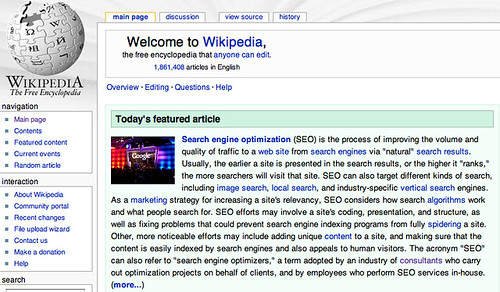 Wikipedia featuring SEO
