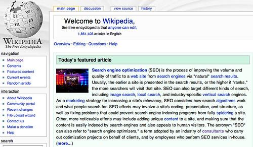 Wikipedia featuring SEO