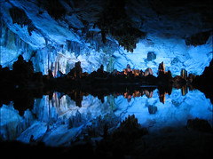 Reed Flute Cave (FormanPhoto) Tags: china old blue reflection composition catchycolors tour guilin yan cave straight cavern peoplesch