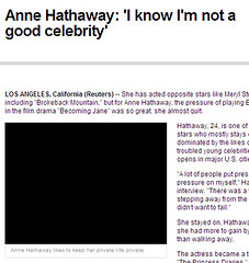 anne hathaway likes to keep her private life private