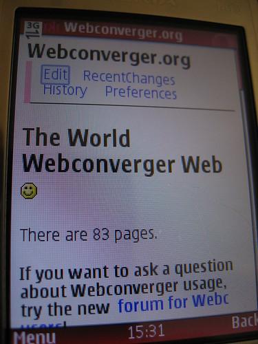 Opera Mini 4 rendering of Webconverger.org