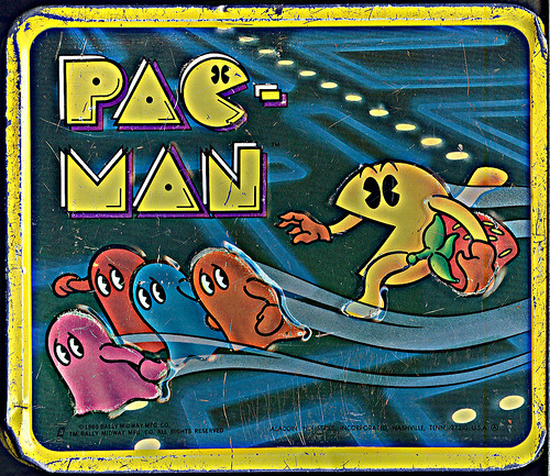tOkKA's Pac-Man Lunch Box - BACK Graphic.. Aladdin Industries ((1980))