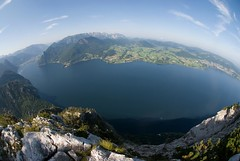 lake Traunsee (magrolino) Tags: friends panorama mountain nikon hiking panoramic fisheye fullframe traunstein 10mm salzkammergut gmunden traunsee d80 club16