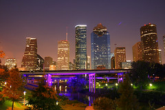 Summer Nite in Houston (P3t3rT) Tags: houstonskyline flickrexplore sabinepass houstonist houstondowntown houstonatnight flickrturns4 sabinest sabinestbridge sabineloft nearhoustonskatepark