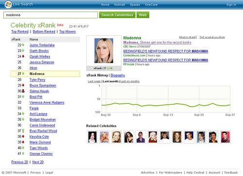 Microsoft Live Celebrity Search