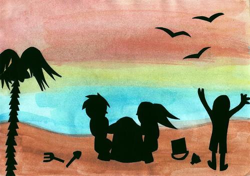 剪影藝術—海灘