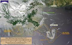 May 9, 2010, satellite image (OnEarth Magazine) Tags: gulfofmexico energy halliburton oil bp 2010 oildrilling offshoredrilling transocean offshoreoil deepwaterhorizon oilpocalypse onearthoil