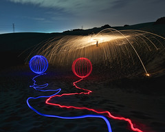 red + blue = bang (alexkess) Tags: lightpainting fire sand nikon sydney australia nsw sparks orbs sandhills cronulla kurnell wirewool wandabeach flickrexportdemo d700 alexkess michaelsutton afsnikkor1735mmf28difed lightpainters alexanderkesselaar