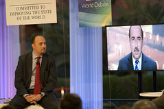 Husam Zomlot & Dore Gold (on the screen) - World Economic Forum on the Middle East 2010