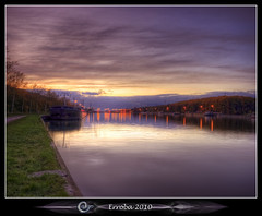 After sunset at the lock (Erroba) Tags: autumn trees sunset water night clouds photoshop canon rebel lights canal ship belgium belgique tripod belgi sigma tips remote 1020mm erlend hdr cs3 tessenderlo gestel 3xp meerhout photomatix albertkanaal tonemapped tonemapping xti 400d vertorama erroba robaye erlendrobaye
