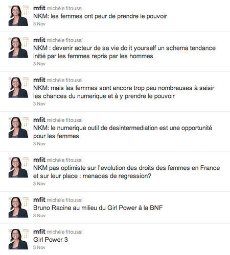 Tweets de Michèle Fitoussi / GirlPower3, citations de NKM