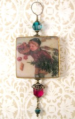 2010 Holiday Ornament Collection - Victorian Child with Fruit and Tree