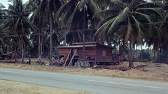 197812 117 East coast of Malaysia (williewonker) Tags: road village coconut malaysia kampong terengganu kodachromeslide