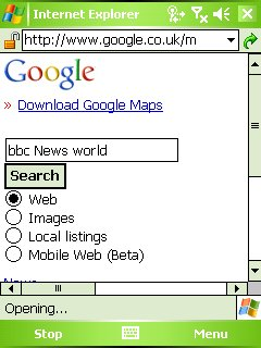 Searching for the BBC News World edition in Google Mobile