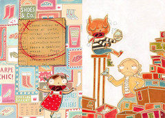 Feltrinelli Kids - IV - Cat in the boots caught by compulsive shopping! (*silviaStella) Tags: kids illustration project graphics silvia catalogue degree catalogo feltrinelli osella silviastella