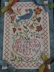 Bluebirds Message (Deep Fried Cupcake (Andrea)) Tags: crossstitch needlework stitching bluebird alphabet samplers silkribbon blackbirddesigns