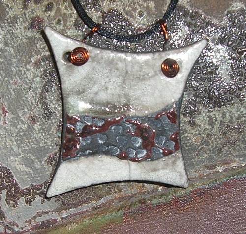 Makustudio white crackle and copper raku pendant white aloadofball Gallery
